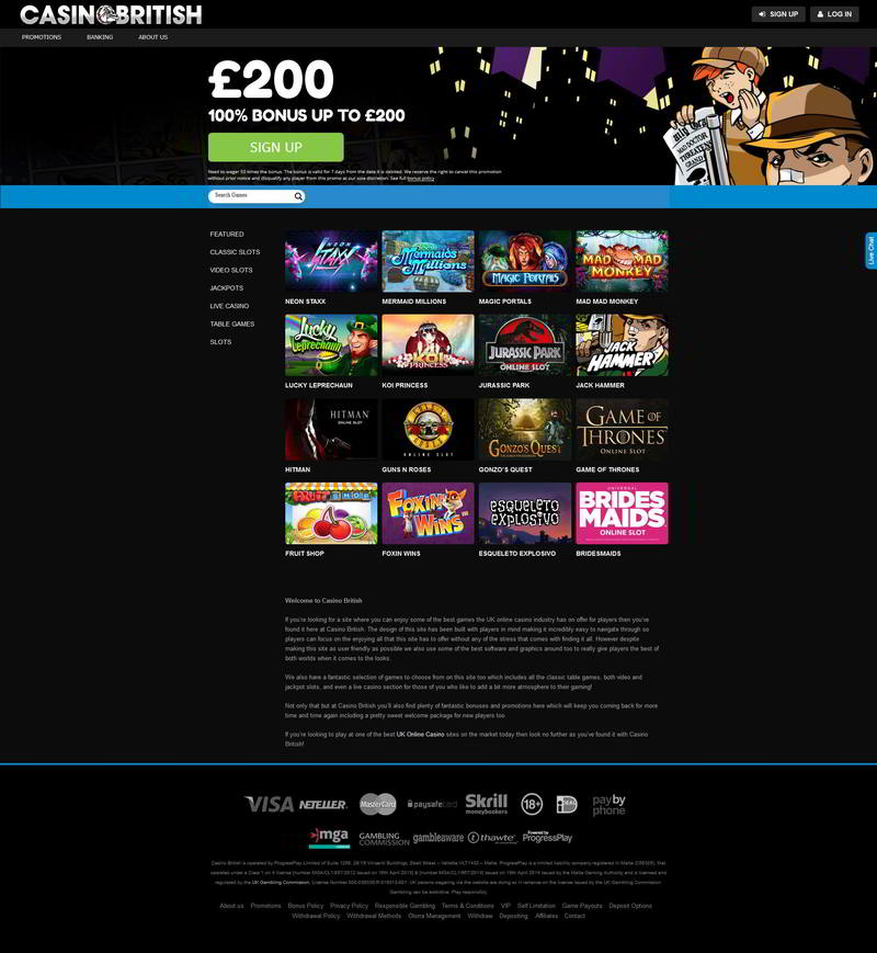 casino british 50 free spins