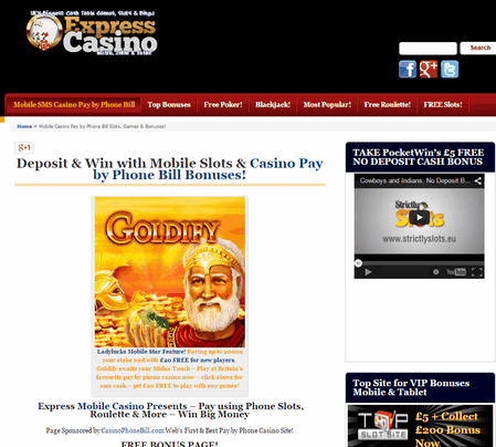 Amazing Mobile SMS Casino Pay by Phone Bill Offers