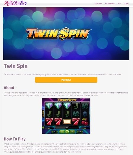 Spin Slots at Spin Genie